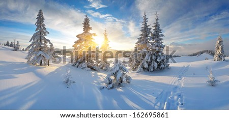 Frosty morning in the mountains. Panorama of winter mountains. Ukraine, Carpathians - stock photo