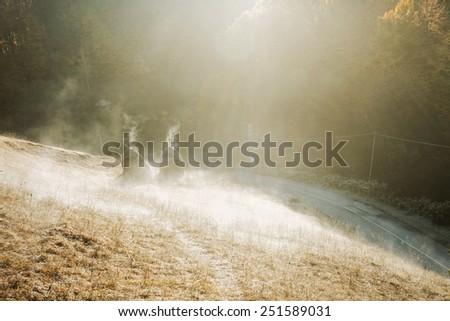 frosty morning landscape - stock photo