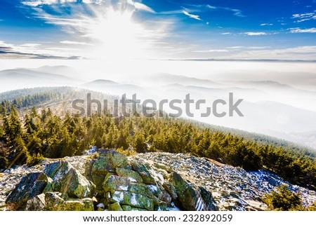 Frosty mountain landscape - stock photo