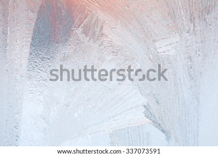 Frosty natural pattern on winter window