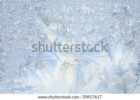 Frosty natural pattern on winter window - stock photo