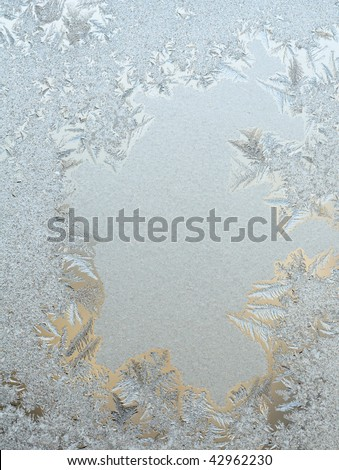 Frosty on winter glass - stock photo