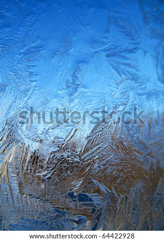 Frosty original  pattern at a winter window glass, natural texture - stock photo
