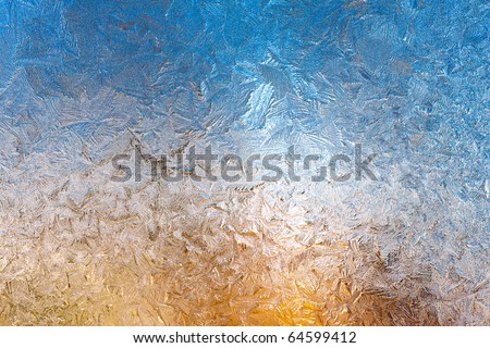frosty pattern on window - stock photo