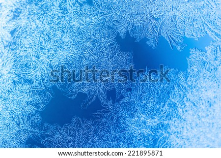 Frosty pattern on winter window, selective focus - stock photo