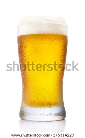 Frosty pint glass of beer isolated on a white background