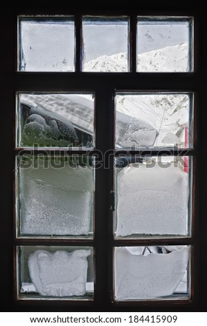 Frosty window. From the inside looking out - stock photo
