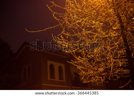 Frosty winter evening in a city - stock photo