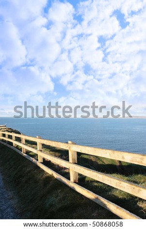 frosty winters view at ballybunion cliff side walk with atlantic view - stock photo