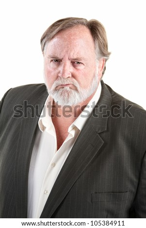 Frowning angry caucasian man with over background - stock photo