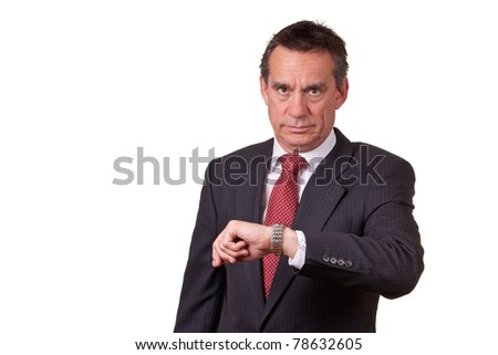 Frowning Angry Middle Age Business Man Looking at Time on Watch - stock photo