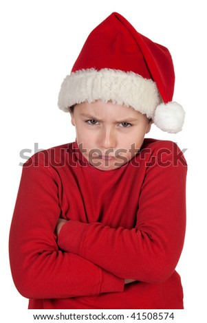Frowning boy with santa hat isolated on white background - stock photo