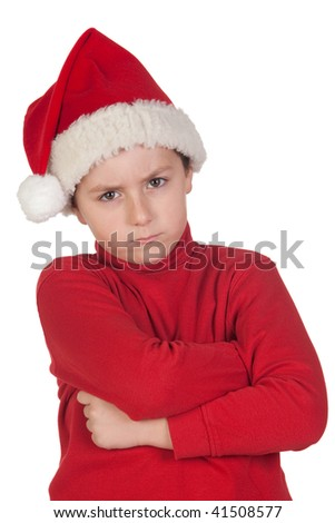 Frowning boy with santa hat isolated on white background