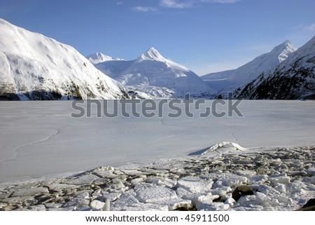 Frozen Alaskan lake - stock photo