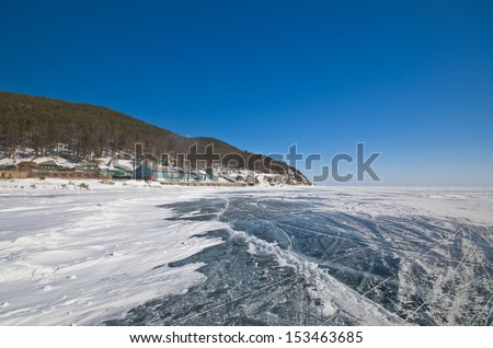 Frozen Baikal lake,Russia - stock photo