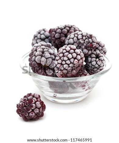 frozen blackberries isolated on white background - stock photo