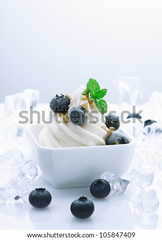 Frozen Blueberry Joghurt Dessert. Fruity Yogurt Dessert with crushed ice cubes around - stock photo