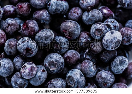 frozen blueberrys, full frame background with details, view from above - stock photo