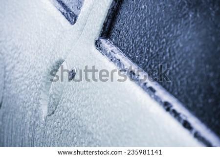 Frozen car door in winter - stock photo
