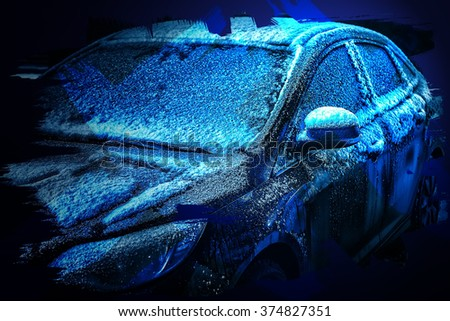 frozen car in the parking lot of the hotel the night winter - stock photo