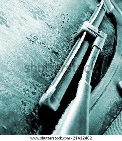 Frozen car windscreen - stock photo