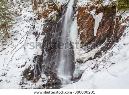 frozen cascade - stock photo