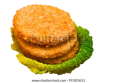 frozen chicken burgers isolated on white  background - stock photo