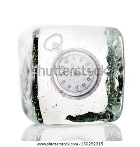 Frozen clock in a block of ice - stock photo