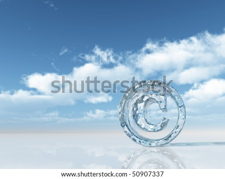 frozen copyright symbol under cloudy blue sky - 3d illustration - stock photo