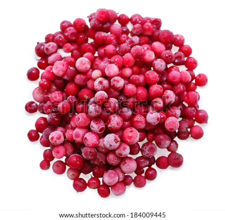 frozen Cowberry  isolated on white background  - stock photo