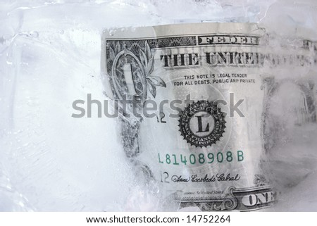Frozen dollar in a block of ice - stock photo