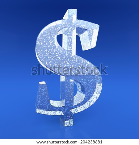 Frozen dollar sign on blue background - stock photo