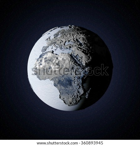 Frozen Earth Planet in Space. Global Ice Age Concept. Elements of this image furnished by NASA. - stock photo