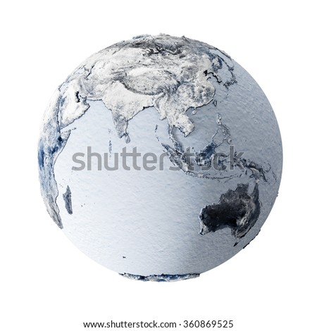 Frozen Earth Planet Isolated on white background. Global Ice Age Concept. Elements of this image furnished by NASA. - stock photo