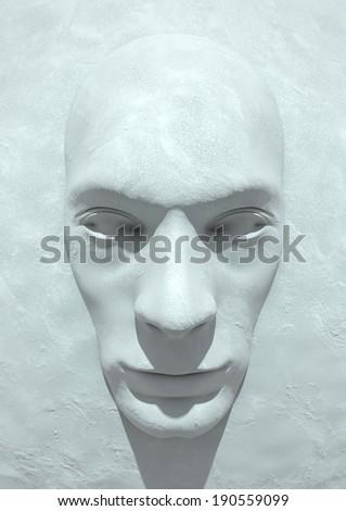 Frozen Face Render - stock photo