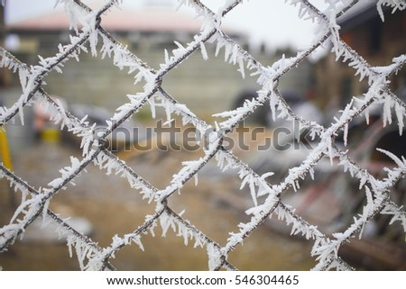 Frozen fence in the winter