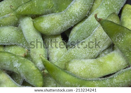 Frozen food, boiled soybeans. - stock photo
