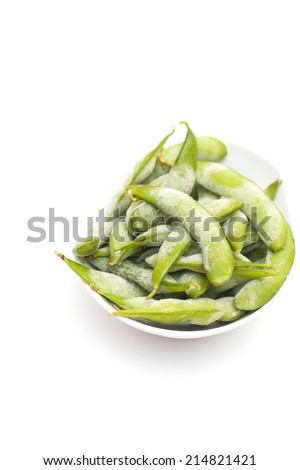 Frozen food, boiled soybeans in the pod Edamame - stock photo