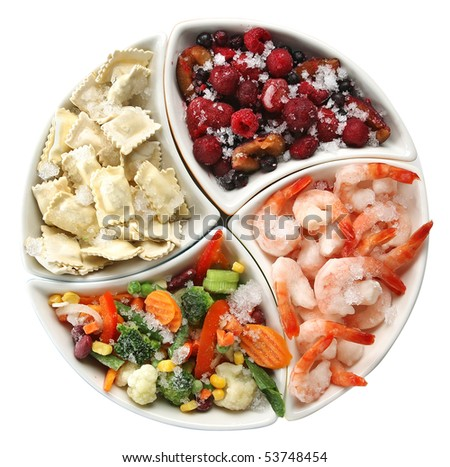frozen food on the plate - stock photo