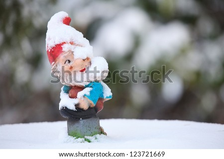 Frozen garden gnome in winter time - stock photo