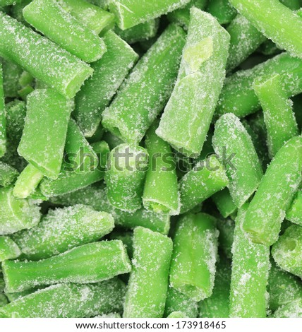 Frozen green beans. Isolated on a white background. - stock photo