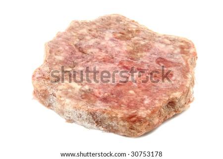 Frozen Hamburger Patty Isolated On White - stock photo
