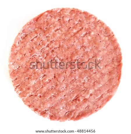 Frozen Hamburger Patty Isolated on White Background - stock photo