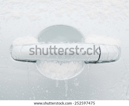 Frozen handle car - stock photo