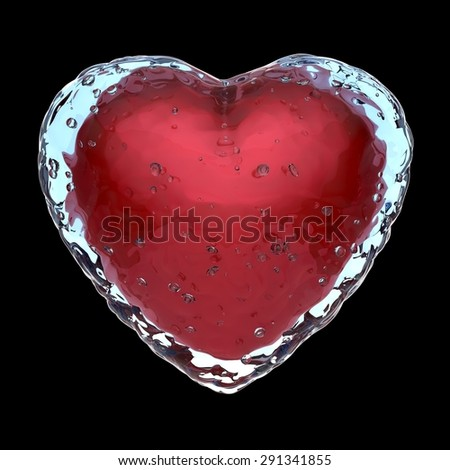 Frozen heart concept, 3D render - stock photo