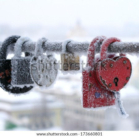 frozen heart-shaped lock - stock photo