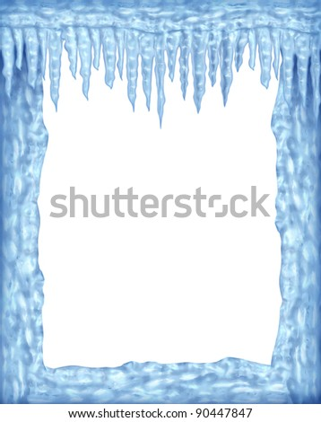 Frozen ice and icicles frame winter design element on a blank white background representing the cold arctic weather and low freezing  temperatures resulting in hanging shiny transparent ice crystals. - stock photo