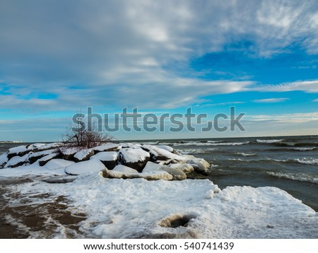 Frozen Ice Cold Lake Ontario In Winter