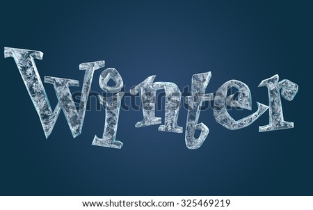 Frozen ice letters - stock photo