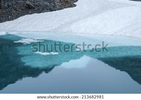 Frozen ice shelf and snow in freezing cold glacial pool of meltwater - stock photo